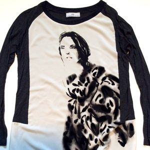 Zara graphic t shirt, 3/4 sleeves size S